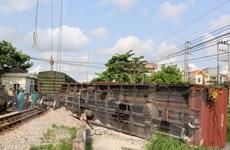 Đã xác định nguyên nhân tàu hàng bị trật bánh tại Nam Định