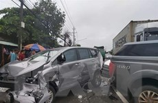 Tai nạn liên hoàn trên Quốc lộ 13, nhiều phương tiện bị hư hỏng