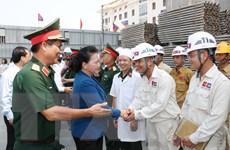 Chủ tịch Quốc hội kiểm tra tiến độ thi công Nhà Quốc hội Lào