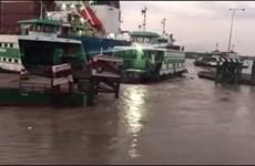 TP Hồ Chí Minh: Tàu biển va chạm gây hư hỏng bến phao phà Cát Lái