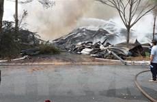 Vẫn chưa dập tắt được đám cháy tại kho hàng chứa 15.000 tấn hạt điều