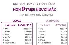 [Infographics] Số ca mắc COVID-19 toàn cầu vượt mốc 9 triệu người