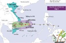 [Infographics] Vị trí và đường đi của bão số 12 trên Biển Đông