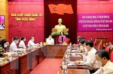 Bà Trương Thị Mai làm việc tại Hòa Bình về công tác chuẩn bị bầu cử