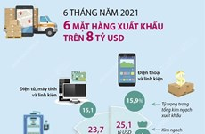 [Infographics] Sáu mặt hàng đạt kim ngạch xuất khẩu trên 8 tỷ USD