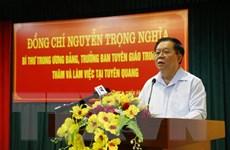 Trưởng Ban Tuyên giáo TW làm việc với lãnh đạo tỉnh Tuyên Quang