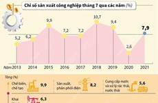 [Infographics] Chỉ số sản xuất công nghiệp tăng 7,9% trong 7 tháng