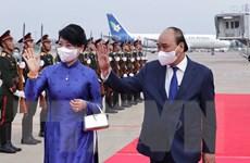 [Photo] Chủ tịch nước Nguyễn Xuân Phúc kết thúc chuyến thăm Lào