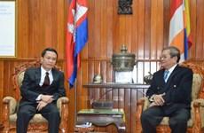 Bộ trưởng Thông tin Campuchia tiếp đoàn cấp cao TTXVN