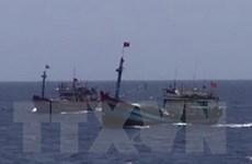 Trao tặng cờ tổ quốc, ảnh Bác Hồ, tướng Giáp cho ngư dân