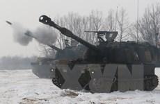 Đơn vị pháo binh Mỹ tổ chức tập trận bắn đạn thật tại Hàn Quốc