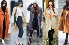 Quý cô thời trang Việt lăngxê áo khoác dáng dài ngày lạnh
