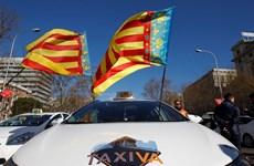 Cảnh sát Tây Ban Nha dùng cần cẩu dẹp các xe taxi đình công
