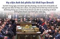[Infographics] Hạ viện Anh bỏ phiếu lùi thời hạn thỏa thuận Brexit