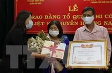 """Trao bằng Tổ quốc ghi công cho gia đình """"Hiệp sỹ"""" Nguyễn Hoàng Nam"""