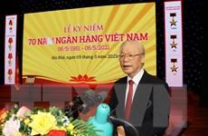 [Photo] Tổng Bí thư dự Lễ kỷ niệm 70 năm thành lập Ngân hàng Nhà nước
