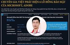 6 lỗ hổng bảo mật của Microsoft, Adobe do chuyên gia Việt phát hiện