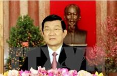 Chủ tịch nước Trương Tấn Sang chúc Tết Ất Mùi năm 2015