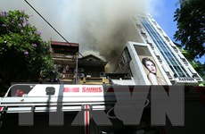 Dập tắt vụ cháy nhà hàng Trúc Lâm Trai trên phố Lê Ngọc Hân