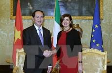 Chủ tịch nước Trần Đại Quang hội kiến lãnh đạo Quốc hội Italy