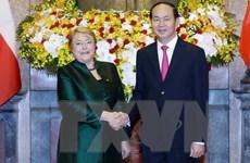 Chủ tịch nước Trần Đại Quang hội đàm với Tổng thống Chile Bachelet