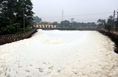 Nước sông Nhuệ biến cả một đoạn kênh sủi bọt, bốc mùi hôi thối