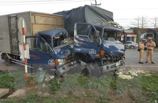 3 xe tải đâm nhau liên hoàn, 4 người bị thương nặng ở Bình Phước
