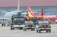 Hình ảnh Linh cữu Đại tướng Lê Đức Anh đến Sân bay Quốc tế Nội Bài