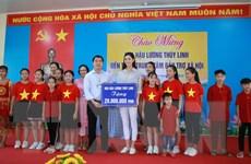 Hoa hậu Lương Thùy Linh tham gia các hoạt động xã hội tại Cao Bằng