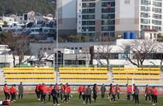 Các cầu thủ U23 Việt Nam vui vẻ tập luyện dưới nắng đông Hàn Quốc