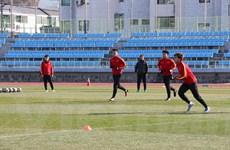Hình ảnh cầu thủ U23 Việt Nam vui vẻ tập luyện dưới nắng đông Hàn Quốc