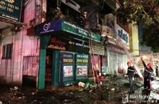 Nghệ An: Kịp thời dập tắt vụ cháy đại lý chăn ga, gối đệm ở Vinh