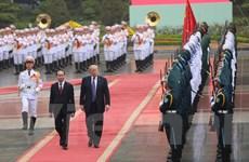 Chủ tịch nước Trần Đại Quang chủ trì lễ đón Tổng thống Donald Trump