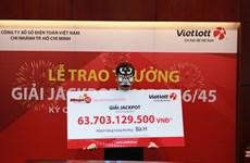 Nhân viên văn phòng trúng giải Vietlott trị giá 63 tỷ đồng