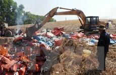 Tây Ninh tiêu hủy gần 352.000 gói thuốc lá điếu ngoại nhập lậu