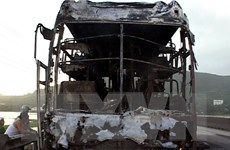 Xe chở 14 người cháy rụi trên cao tốc TP.HCM-Trung Lương