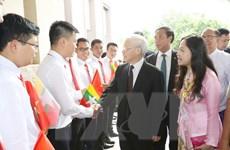 Tổng Bí thư Nguyễn Phú Trọng bắt đầu thăm cấp Nhà nước Myanmar