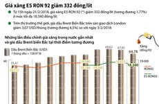 [Infographics] Giá xăng E5 RON 92 giảm 332 đồng một lít
