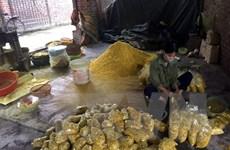 Bắt quả tang một cơ sở trộn lưu huỳnh vào củ riềng xay nhỏ để tiêu thụ