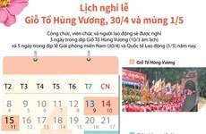[Infographics] Lịch nghỉ lễ Giỗ Tổ Hùng Vương, 30/4, mùng 1/5