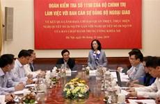Đoàn Kiểm tra Bộ Chính trị làm việc với Ban cán sự đảng Bộ Ngoại giao
