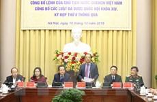 Công bố Lệnh của Chủ tịch nước về 11 luật, bộ luật vừa được thông qua