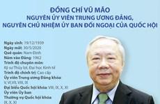 Quá trình công tác của nguyên Chủ nhiệm UB Đối ngoại Quốc hội Vũ Mão