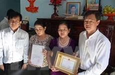 Truy tặng Kỷ niệm chương cho người hiến tạng tại Bà Rịa-Vũng Tàu