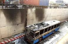 Cao Bằng: Xe buýt bất ngờ bốc cháy ngay sau khi khởi hành
