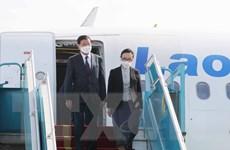 Hình ảnh Tổng Bí thư, Chủ tịch nước Lào bắt đầu chuyến thăm Việt Nam