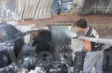 Thái Bình: Cháy lớn ở xưởng bông tại khu công nghiệp Phúc Khánh