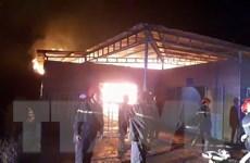 Hiện trường vụ cháy kho sản xuất nhang trầm hương tại chùa Thanh Tâm