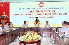 Thành phố Hà Nội tiếp nhận ủng hộ phòng, chống dịch COVID-19