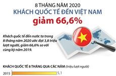 Trong 8 tháng năm 2020, khách quốc tế đến Việt Nam giảm 66,6%